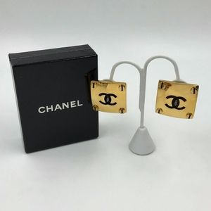 Authentic Chanel Square CC Clip-On Earrings